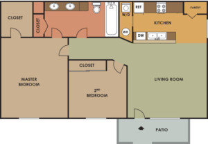 LionTempe950SFBungalow2Bed-1BathFloorplan